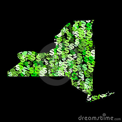 Map of New York with dollars