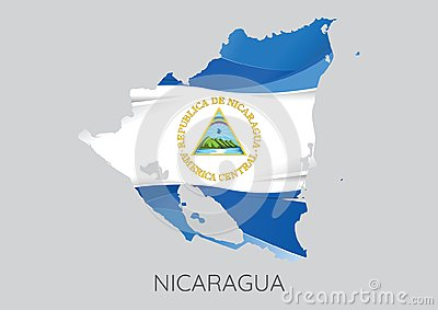 Map of Nicaragua With Flag As Texture Vector Illustration