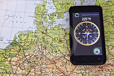 Map North Europe and Compass