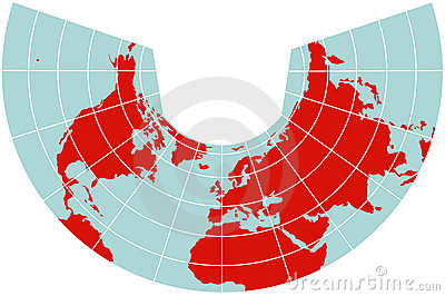 Map of Northern Hemisphere - Albers projection