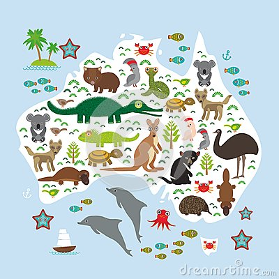 Free Map Of Australia. Echidna Platypus Ostrich Emu Tasmanian Devil Cockatoo Parrot Wombat Snake Turtle Crocodile Kangaroo Dingo Octopu Royalty Free Stock Photography - 56931377