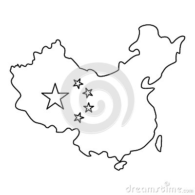 Free Map Of China With Flag Icon, Outline Style Royalty Free Stock Images - 85159309