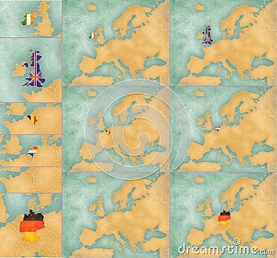 Free Map Of Europe - Summer Style Set 2 Stock Photo - 32196320
