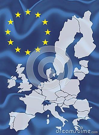 Free Map Of European Union With Waving Flag Stock Photo - 51528040