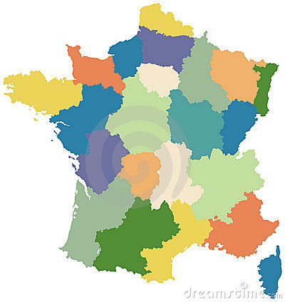 Free Map Of France Divided Into Regions Royalty Free Stock Photo - 6369465