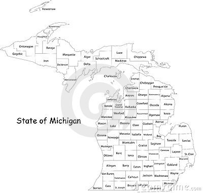 Free Map Of Michigan State Royalty Free Stock Photos - 9540428