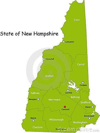 Free Map Of New Hampshire State Stock Photo - 9288990