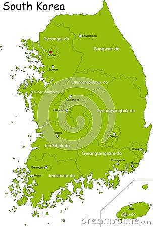 Free Map Of South Korea Royalty Free Stock Photos - 9046868