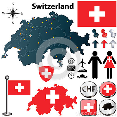 Free Map Of Switzerland With Regions Royalty Free Stock Photography - 30401047