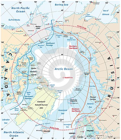 Free Map Of The Arctic Region, The Northwest Passage And The Northern Sea Route Royalty Free Stock Photography - 135403627
