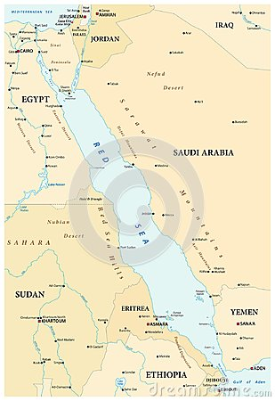 Free Map Of The Red Sea With Its Neighboring Countries Royalty Free Stock Image - 124235876
