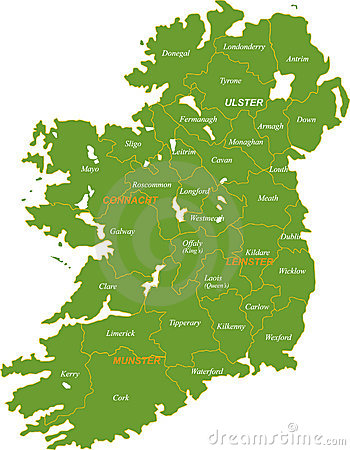 Free Map Of The Whole Ireland. Stock Image - 8168391