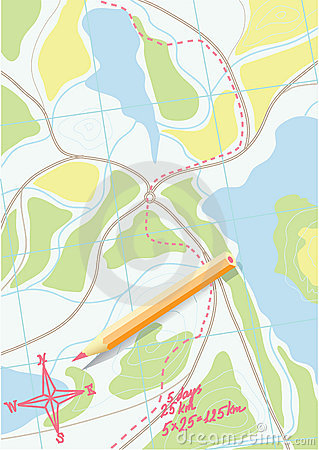 Free Map Of Trip On The Forests. Vector. Royalty Free Stock Photo - 10782175