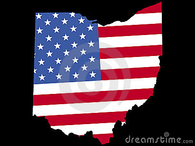 Map of Ohio with flag