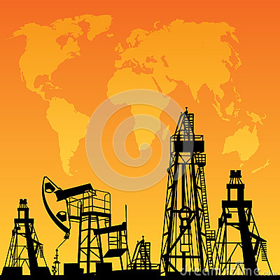 Map and oil rig