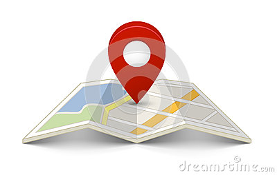 Map with a pin Vector Illustration