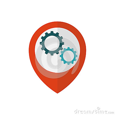 Map pointer with gears inside Vector Illustration