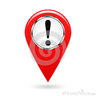 Map pointer. The pointer of important objects, warning of danger on the area map. safety symbol. red object on a white background. Cartoon Illustration