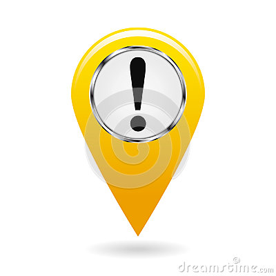Map pointer. The pointer of important objects, warning of danger on the area map. safety symbol. The yellow object on a white back Cartoon Illustration