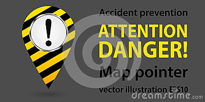 Map pointer. Safety information. Industrial design. Vector Cartoon Illustration