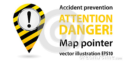 Map pointer. Safety information. Industrial design. Vector Cartoon Illustration