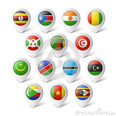 Free Map Pointers With Flags. Africa. Royalty Free Stock Photos - 38919398