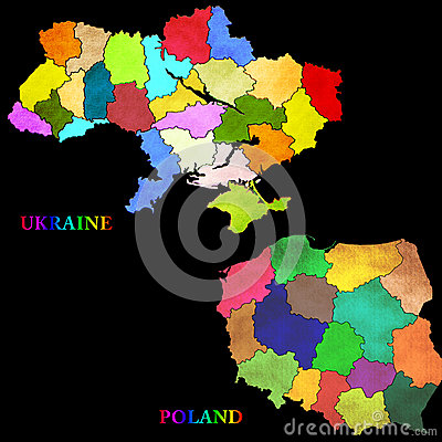 Map of Poland and Ukraine