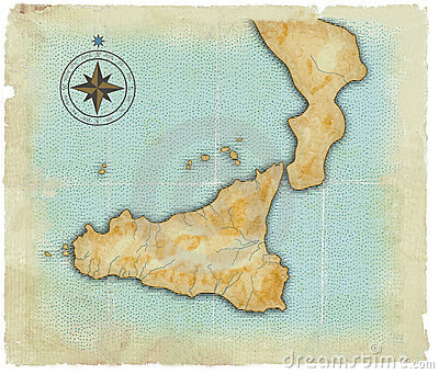 A map of Sicily is in age-old style
