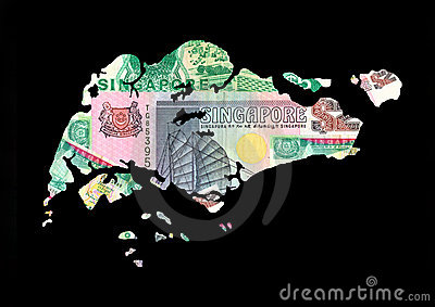 Map of Singapore with cash