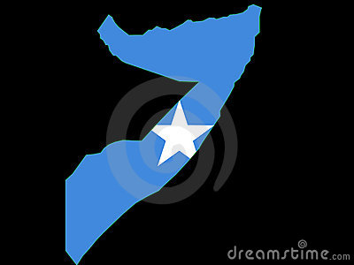 Map of Somalia and Somali flag