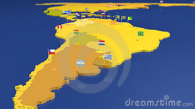 Map of South America with national flags