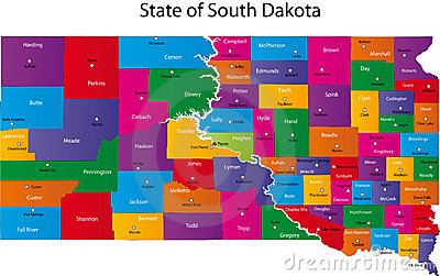 Map of South Dakota state