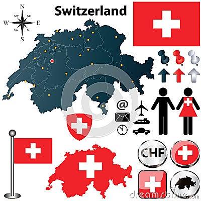 Map of Switzerland with regions