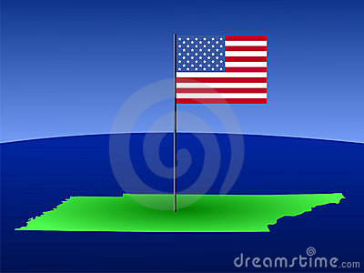 Map of Tennessee with flag