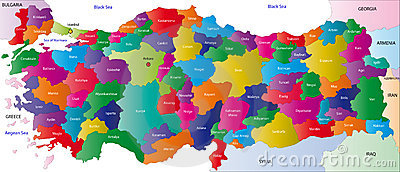 Map of Turkey Cartoon Illustration