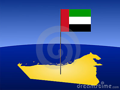 Map of UAE with flag