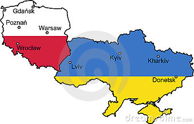 Map of Ukraine and Poland (UEFA Euro 2012)