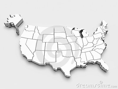 Map of USA. 3d