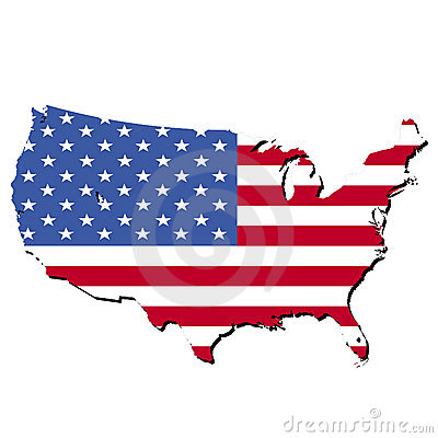 Map of USA and American flag