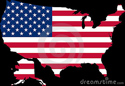 Map of USA with the flag