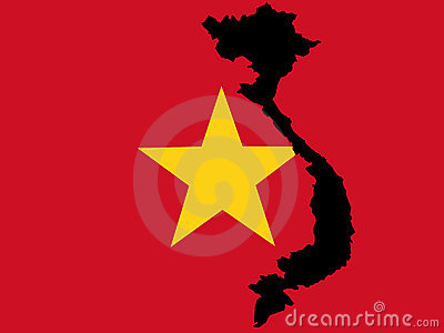 Map of Vietnam and Vietnamese flag