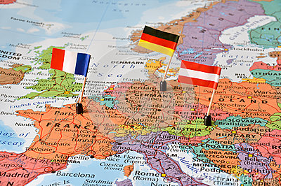 Map of the Western Europe countries Germany, France, Austria Stock Photo