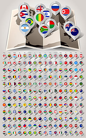 Free Map World 192 Markers With Flags Royalty Free Stock Photography - 38238957