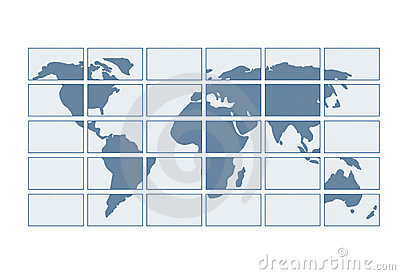 Map of the world on transparent screens