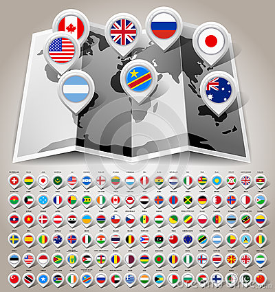 Free Map World With Flags Stock Images - 31417054