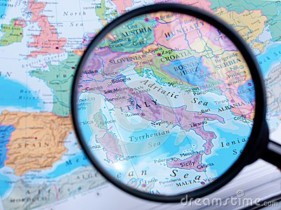 Map and Zoom Lens, Italy