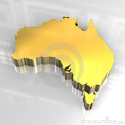 Mapa 3d dourado de Austrália