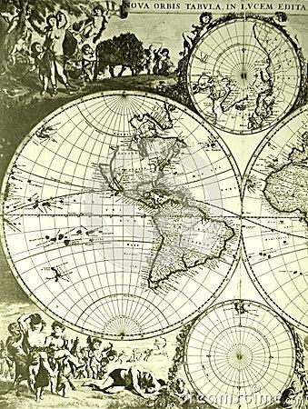 Mapa antykwarski stary świat