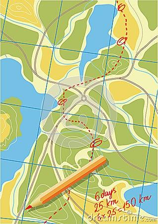 Mapa da viagem nas florestas.