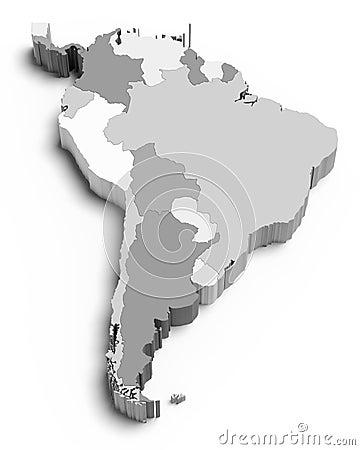 Mapa de 3D Ámérica do Sul no branco